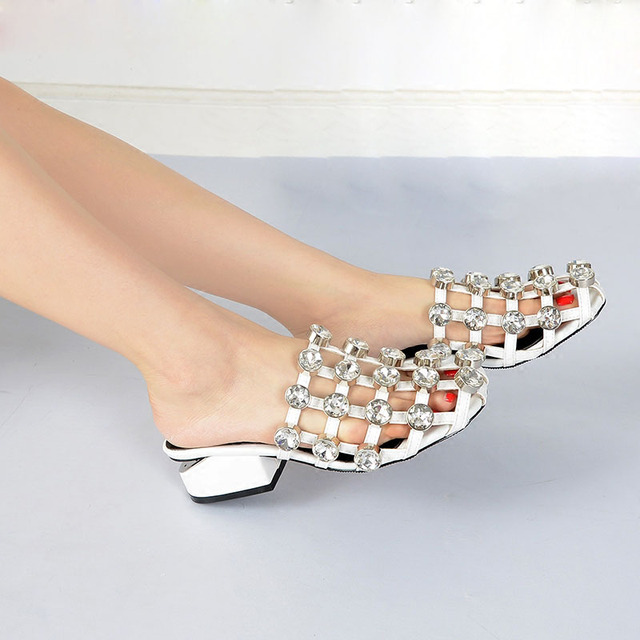 37f585fe27d8 Girl s Glitter Crystal Button Rivets Slipper Sandals Summer Cross Grid  Closed toe Med Gap Heels Rhinestone Leisure Slide Shoes