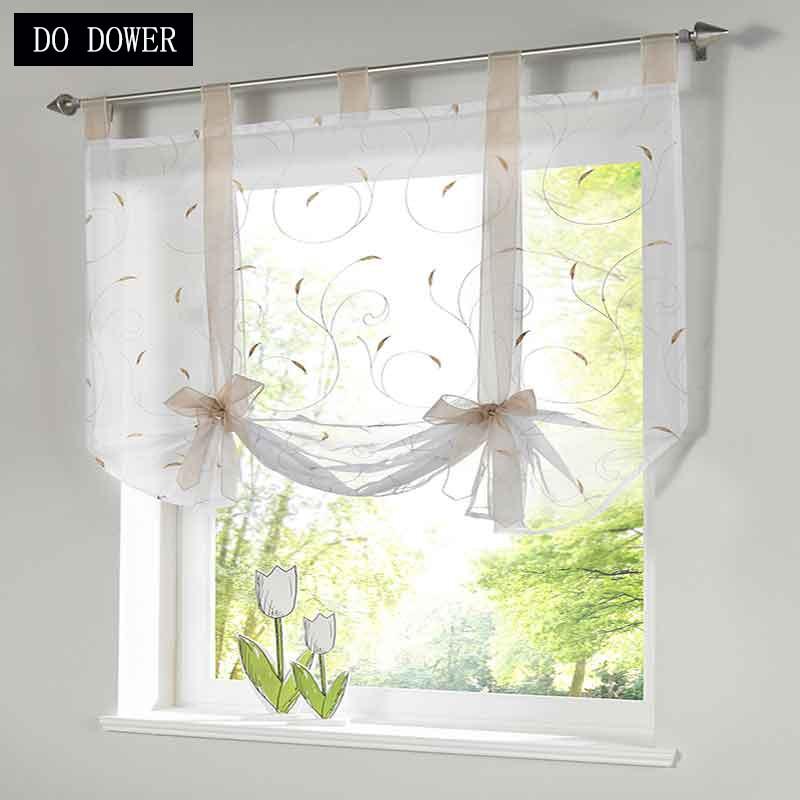 1 PC Voil רומי טול נקודת המבט המודרנית וילונות לסלון וילונות חלון מרפסת הקרנה מטבחים קצר 5 צבעים