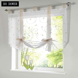 1PC Modern Perspective Roman Tulle Voil Curtains for Living room Balcony Window Screening Short Kitchens Curtains 5 Colors