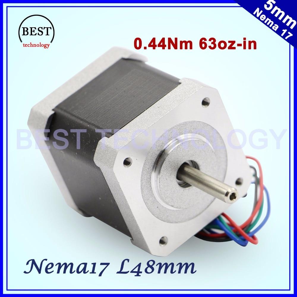 цена на Free shipping! NEMA17 stepper motor 42 48mm 0.44N.m stepping motor 1.7A 63Oz-in for CNC Milling Engraving machine 3D printer