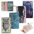 Лев Тигр Сова абстрактная живопись Бумажник PU Кожаный Случай Стойки чехол Для Samsung Galaxy Tab E 9.6 T560 SM-T560 T561 случае