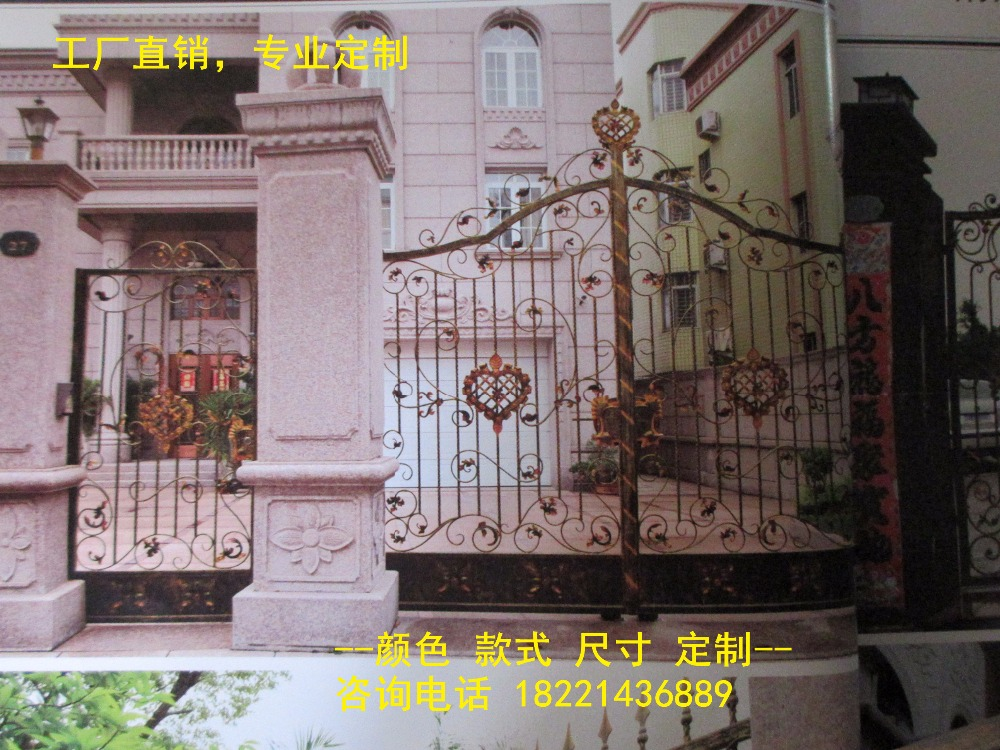 Custom Made Wrought Iron Gates Designs Whole Sale Wrought Iron Gates Metal Gates Steel Gates Hc-g78