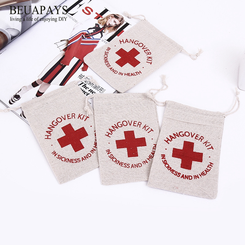 1pcs Hemp Bundle Bags Hangover Kit In Sickness And In Health Cotton And Hemp Sucker Gift Bags Cotton Canvas Bags Environmental