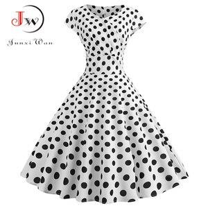 Frauen Sommer Kleid V Neck Elegante Vintage Party Kleid Casual Plus Größe Polka Dot Robe Femme Rockabilly Schwarz Weiß Midi kleider