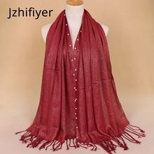 women scarf head bufanda shawl scarves mujer pearl stoles echarpes yarn plain neck wrap hijab beads pashmina kashmir