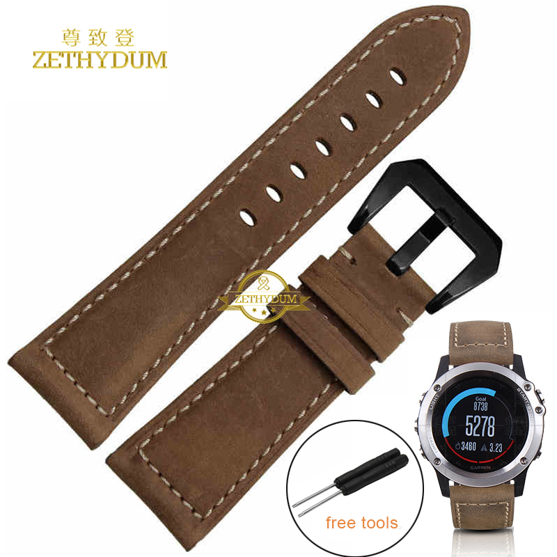 Genuine leather strap smart bracelet 26MM for Garmin Derek Fenix3 Fenix 3 watch band Watchband retro Style Nubuck wristband multi color silicone band for garmin fenix 5x 3 3hr strap 26mm width outdoor sport soft silicone watchband for garmin 26mm band