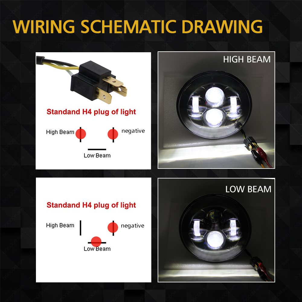CO LIGHT 7 39 39 Headlight 50W 30W 12V 24V High Low Auto LED Driving Light H4 DRL for Jeep Wrangler JK Hummer Lada Niva Car styling in Car Light Assembly from Automobiles amp Motorcycles