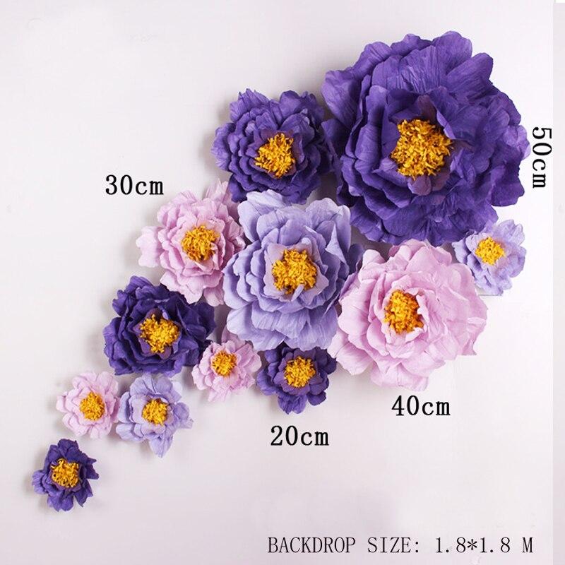 Obří simulace Lepenkové Krepový papír Růže Květiny Showcase Svatební pozadí Props flores artificiais para decora o 7 Možnosti