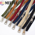 Meetee 120cm 5# Double Slider Metal Zippers DIY down jackets Coat Double Open End Long Zipper Clothing Accessories 12 Color A3-8