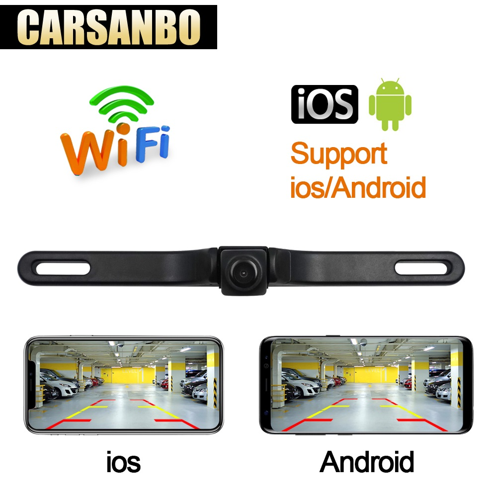 Carsanbo HD Waterproof License Plate wifi back up camera Auto Car Reverse Backup Parking Rearview Camera