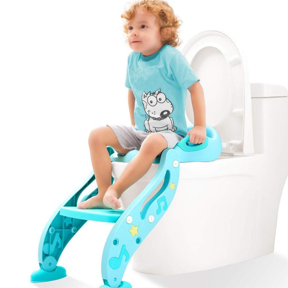 Siège d'entraînement de pot d'enfant en bas âge facile à assembler réglable avec l'échelle de tabouret poignée confortable garde d'éclaboussure pour enfant garçon fille