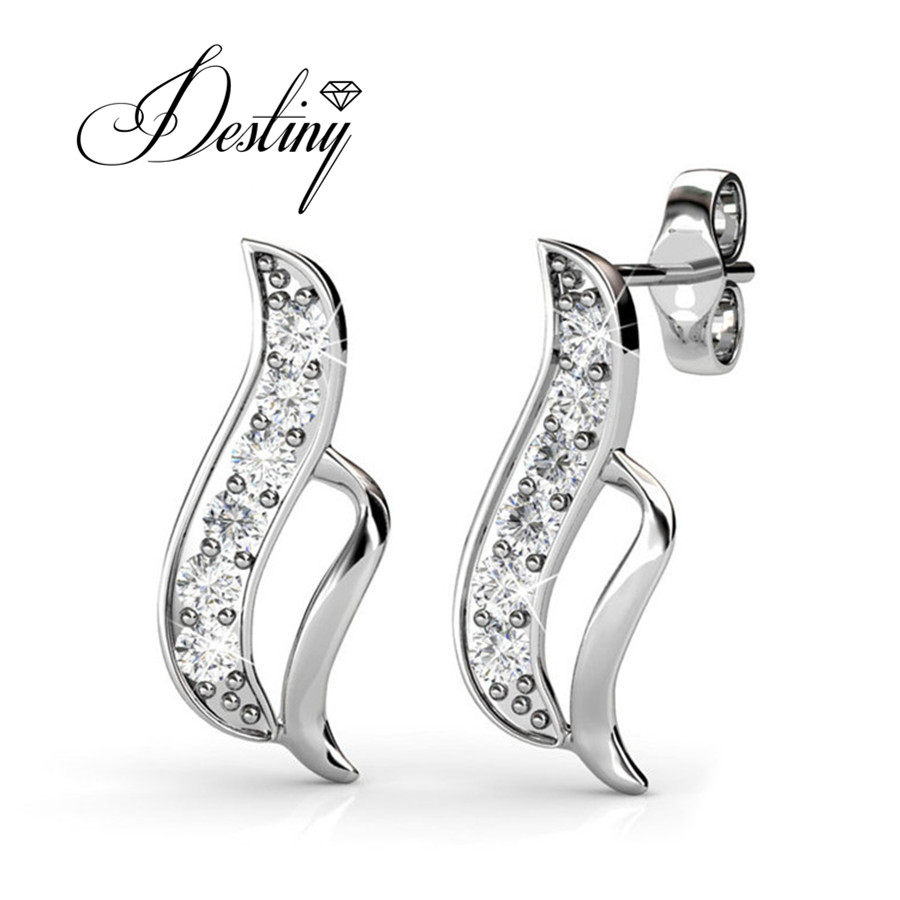 Destiny Jewellery Embellished With Crystals From Swarovski Earrings Genuine  Sterling Silver Mens Earrings De0067(china