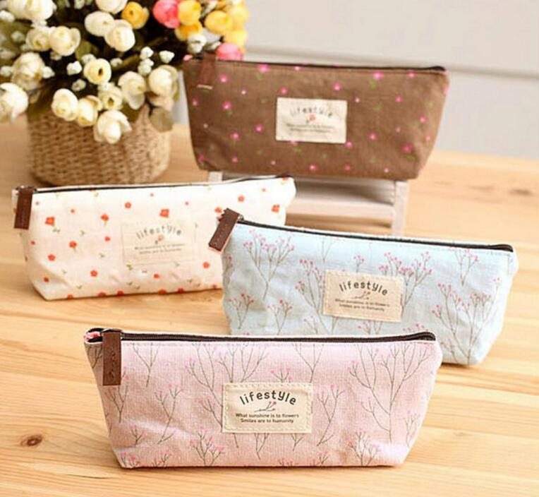 M159 Hot Sale Flower Women Purses Floral Pencil  Canvas Tool Bag Storage Pouch Purse Lace Pen Bag 4 Colors Zero Purse Card Bag best price mgehr1212 2 slot cutter external grooving tool holder turning tool no insert hot sale brand new