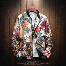 jacket loose men bomber jackets casual hip hop baseball collar print f