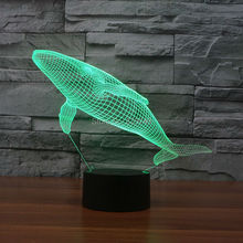 Free Ship Color changing Flashing Whale Arcylic 3D Marine Fish LED Night Light touch sensitive Cetacean USB Lamp