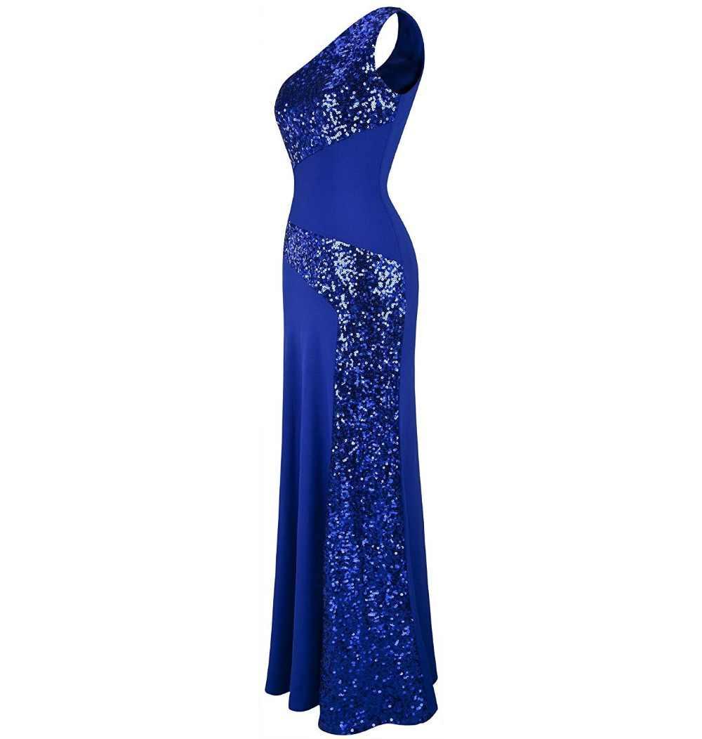 JaneVini un hombro sirena vestidos largos de Madre de la novia talla grande elegante vestido de noche con lentejuelas hasta el suelo vestido Formal