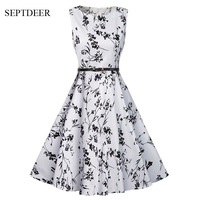 Europe And The United States Retro Floral Printing Slim Holiday Beach Summer Dresses S XXL MSF093