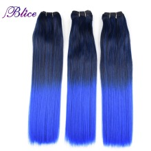 Blice Synthetic Hair Weaving 18 Inches Mix #1B/Blue Yaki Straight Double Long Weft Sew in Extensions 100G/Piece 3Pieces/Lot