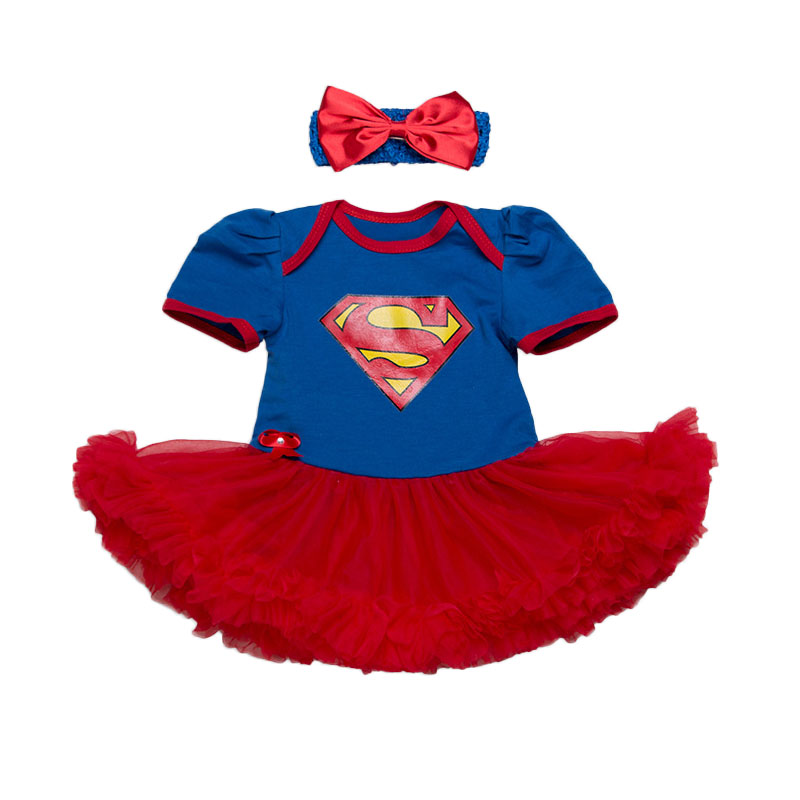 New Baby Girl Clothing Sets Lace Tutu Romper Dress Jumpersuit+Headband 2pcs Set Bebes Infant 1st Birthday Superman Costumes 0-2T