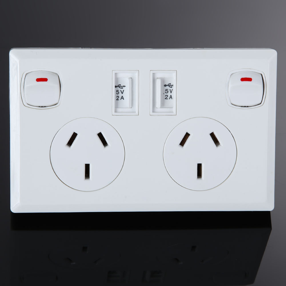 Socket Plate Glamorous Double Usb Electrical Wall Socket Home Power Point Supply Plate 2 Design Decoration