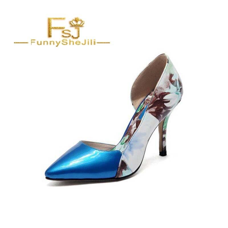 8790d15ce1afa Obcasy Kwiatowy Stiletto Fsj01 Skóry Noble Patentowej Toe Pompy Atrakcyjne  D'orsay Fsj Niebieski Nieporównywalne Moda ...