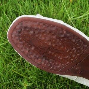 Image 5 - OUKAHUI zapatillas de Ballet de piel auténtica para mujer, zapatos de punta cuadrada con hebilla redonda de Metal, cómodos, para otoño