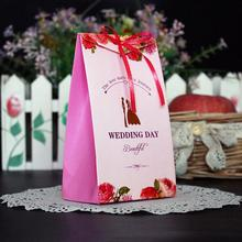 30 Pcs/lot Wedding Party Decoration Lovely Candy Boxes with Ribbon Engagement Chocolate Bags Cookie Gift