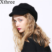 Xthree primavera inverno mulheres gorro de lã chapéu feito malha boina com  Viseiras chapéu Skullie para homens cap chapéu a257c417912