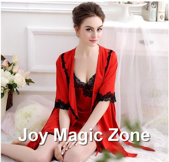 yomrzl L983 new arrival summer sexy women's robe set lace sleepwear royal sleep dress sweet indoor clothes