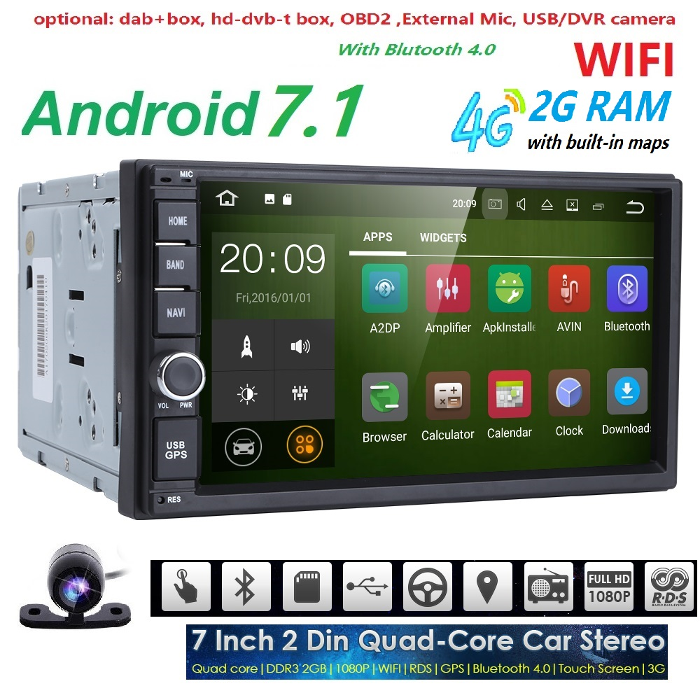 2GRAM 2Din Android7 1 font b Car b font NO DVD Radio Player 7 1024 600