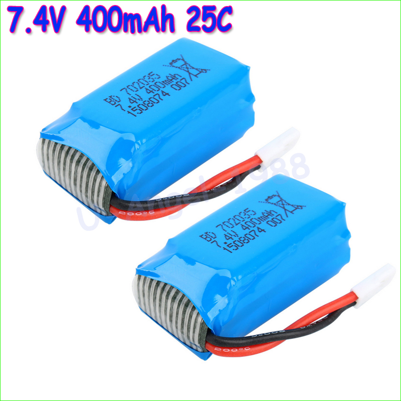 2pcs/lot 7.4V 400mAh Lithium LiPo Battery For RC DM007 Airplane Quadcopter Drone Helicopter Toy Parts cm 052535 3 7v 400 mah для видеорегистратора купить