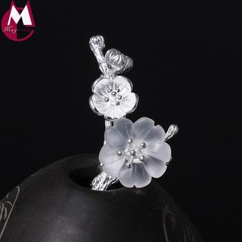 W stylu Vintage broszki kryształowe kwiat Retro gałęzi drzewa róże roślin geometryczny prezent 100 biżuteria z prawdziwego srebra wysokiej próby Plum Blossom YX07 tanie i dobre opinie Grzywny PLANT Party standard 925 sterling Brak GDTC Etniczne magicodes Kobiety SILVER