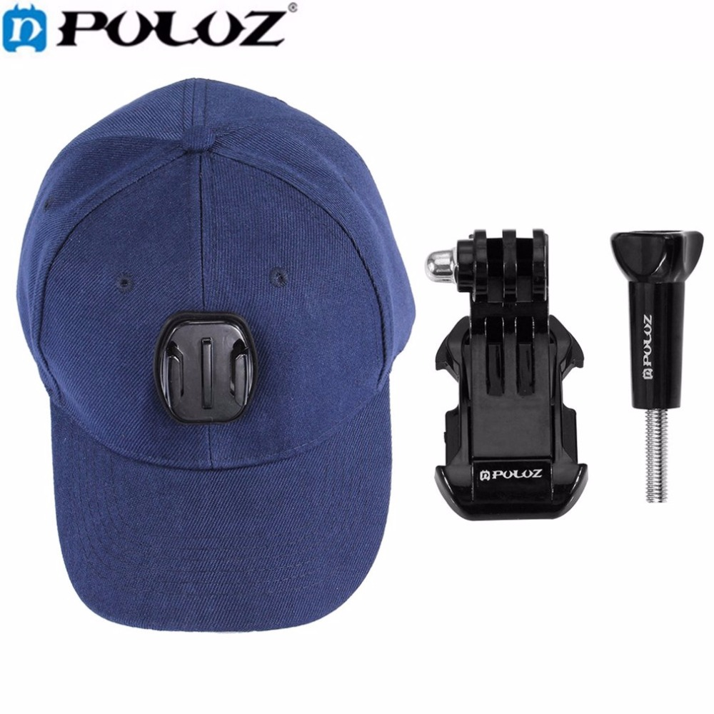 PULUZ For Go Pro Accessories Baseball Hat Cap Adjustable Strapback Cap With J-Hook Buckle Mount Screw For GoPro HERO 5 4 3+ 3 2 все цены