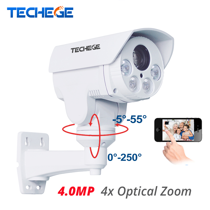 Techege CCTV Security PTZ IP Camera HD 1/3OV4689 HD 4.0M 2592*1520 4X Motorized Auto Zoom Outdoor Weatherproof Night Vision