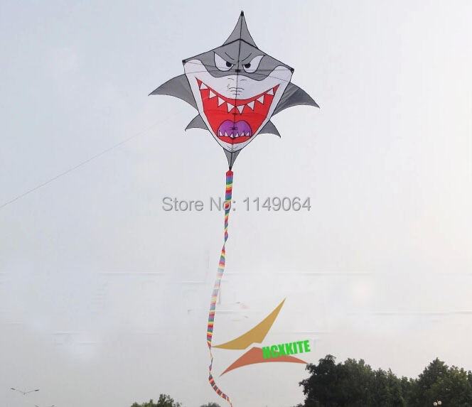 free shipping high quality large shark kite with handle line weifang kite flying hcxkite factory ripstop nylon outdoor toys professional stunt kite designs outdoor sport power kite 4 line beach kite with handles flying line string