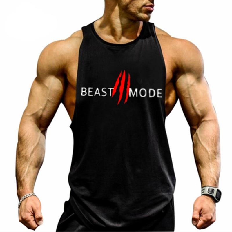 Initiative Brand Clothing Bodybuilding Gyms Fitness Men Tank Top Workout Beast Print Vest Stringer Sportswear Undershirt