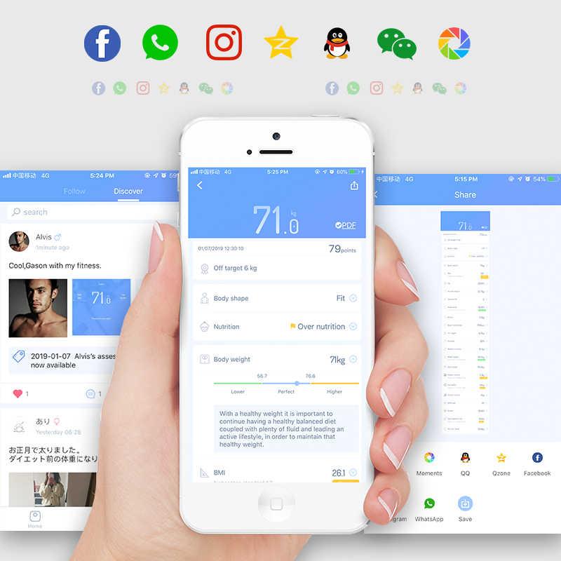 GASON Balance de salle de bains, Balance corporelle sol scientifique à la mode, poids numérique, équilibre de salle de bains, application Bluetooth, Android ou IOS, S4