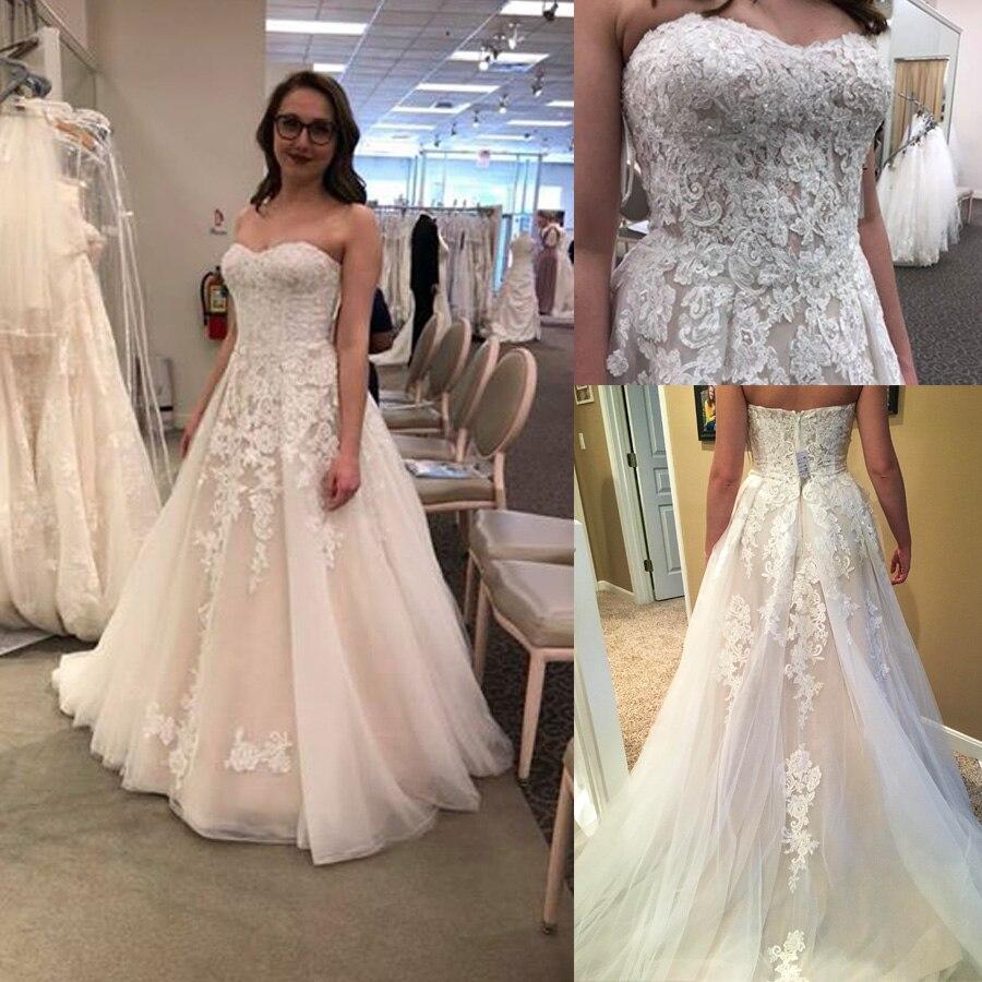 Elegant Sweetheart Neckline Beading Applique A-line Wedding Dress With Backless Long Bridal Dress Vestido De Novia