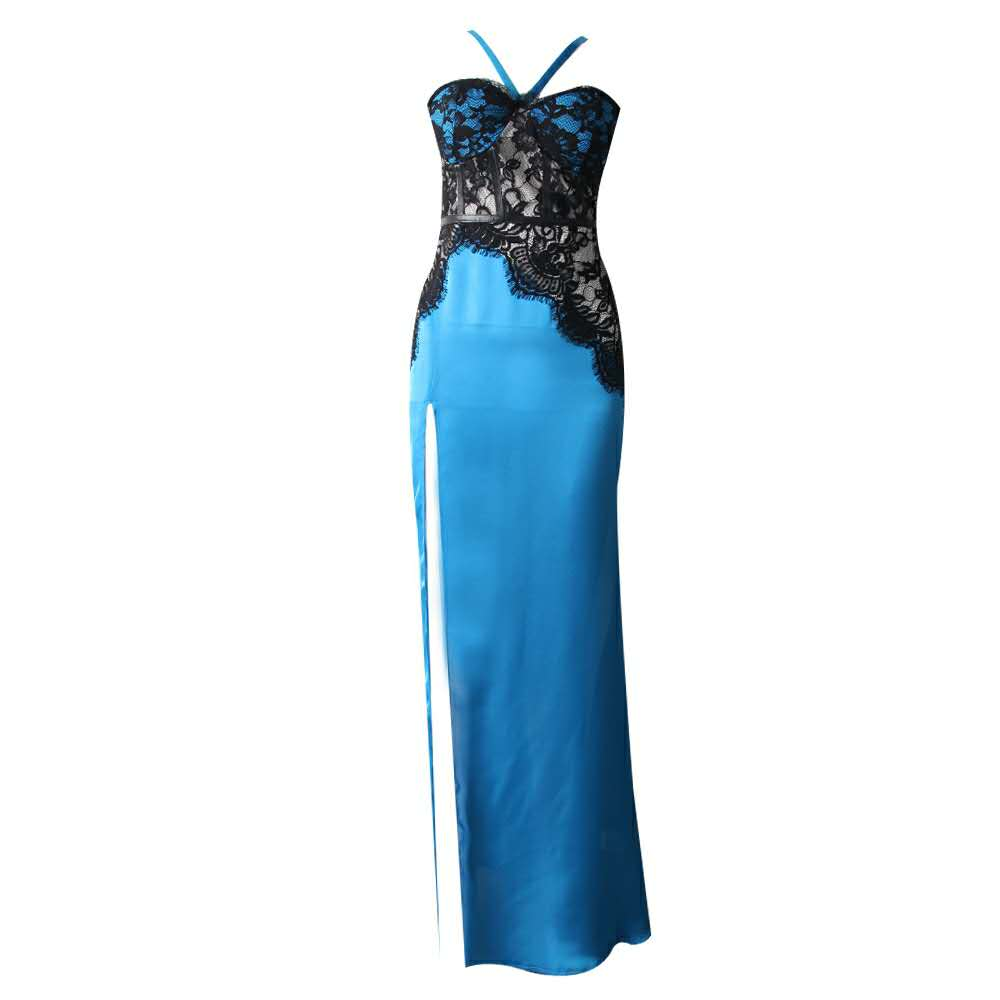 9e5c0e0664b29 See Orange Blue Satin Lace Dresses Party Club Summer Dress 2018 Deep ...