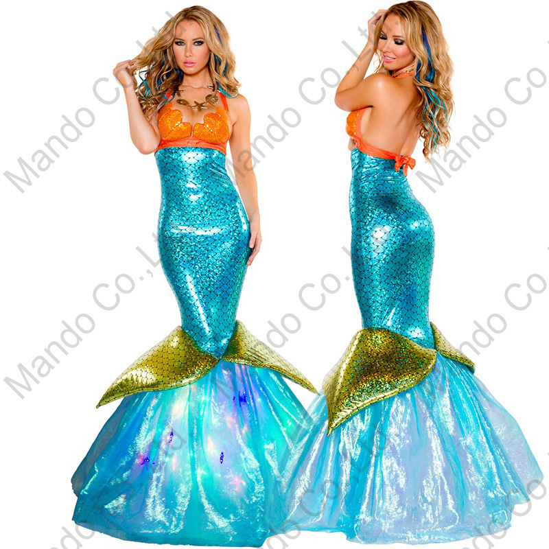 Women Blue Mermaid Cosplay Costume Fairy Tale Halloween Carnival Fancy Dress Girls Masquerade party costume Dresses