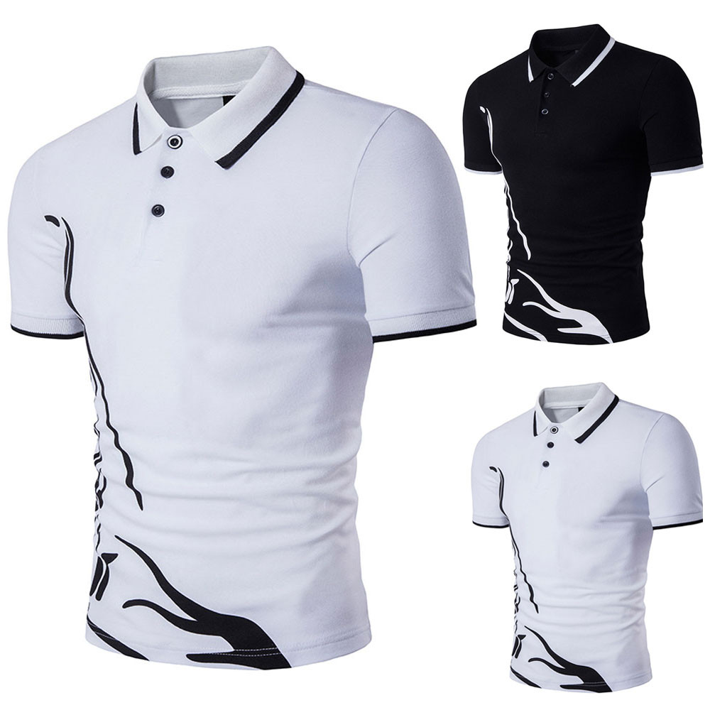 Shirt Men Summer 2019 Casual   Polo   Shirt Men Solid New Hot Men's Slim Sports Short Sleeve Casual Shirt Tee Tops W412