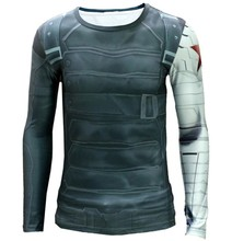 High quality winter soldier body printed t-shirts (captain America 2) T-shirt elastic tights fast dry/winter steel arm
