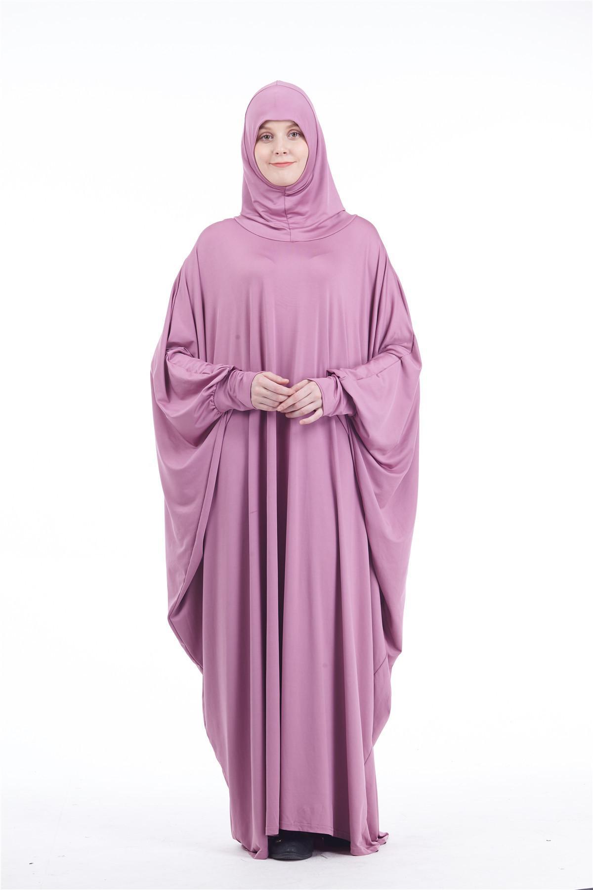 Image 5 - Abaya Kaftan Jilbab Full Cover Prayer Garment Hijab Long Maxi  Dress Overhead Muslim Robe Gown Solid Color Loose Dresses  FashionIslamic Clothing