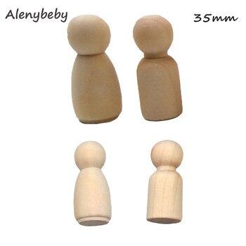 35mm hombres o mujeres muñecas de madera Peg figuras sin pintar pastel de boda familia de muñecas de madera dura de chico impreso juguetes de bricolaje