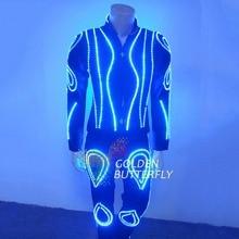 LED Clothes Luminous Clothing Glowing Suits EL Costumes 2017 Hot Fashion Show Men LED Pants Dance