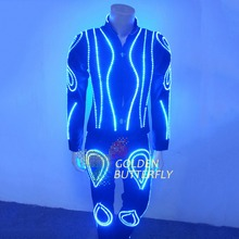 LED Clothes Luminous Clothing Glowing Suits EL Costumes 2015 Hot Fashion Show Men LED Pants Dance Accessories Free Shipping