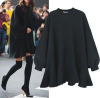 Women Loose Draped Dress Girl Winter Fashion Elegant Celebrity Large Plus Sizes 4xl Party Dress With