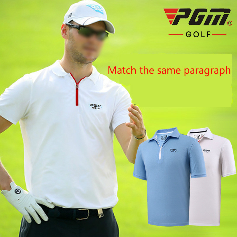 2018 PGM golf Male Polo Shirt Summer Breathable Quick-drying Uv resistance T shirt for men Match the Same Paragraph size M-XXL