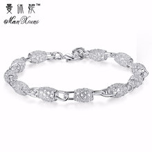 2019 New Silver color Jewelry Hollow Out Bead Bracelet Fashion Bracelets for Women Crystal Bangles Bracelet for Christmas Gift delicate solid color hollow out leaf bracelet for women