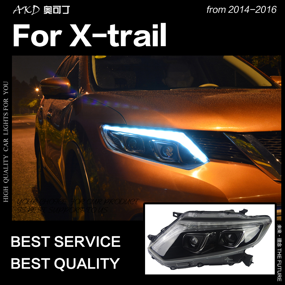 AKD voiture style phares pour Nissan x-trail Rouge phare LED 2014-2016 DRL Hid Option phare ange faisceau accessoires